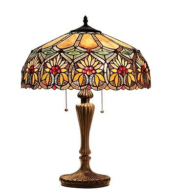 """CH33453BF18-TL2 Floral Tiffany Style Stained Glass 2-Light Table Lamp 18"""" Shade"""