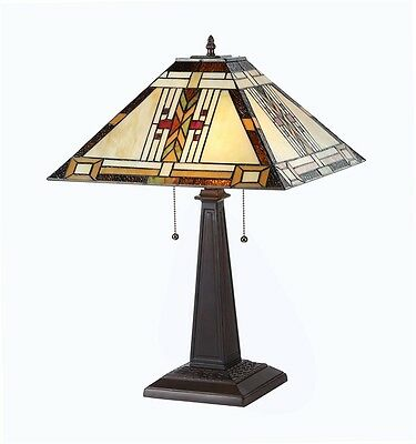 """CH33291MS16-TL2 Tiffany Style Stained Glass Mission 2-Lt Table Lamp W/ 16"""" Shade"""