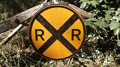 Train Trains Locomotive Railroad Railroads Crossing Round Tin Wall Decor Sign
