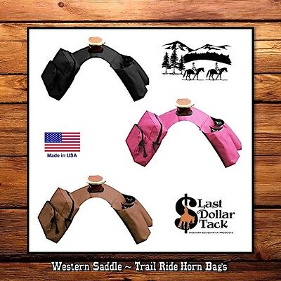 Western Saddle Trail Ride ~ Double Horn Bags ~ Insulated With 2 Water Bottles