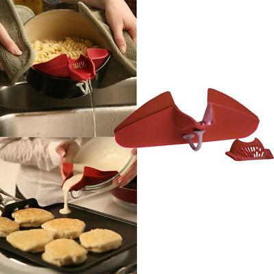 NEW Universal Clip On Spout Strainer Pour Drain Grease Batter Pan Skillet Bowl