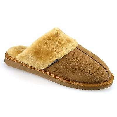 Ladies Womens Faux Suede Warm Soft Fur Winter Slip On Mules Slippers Shoes Size