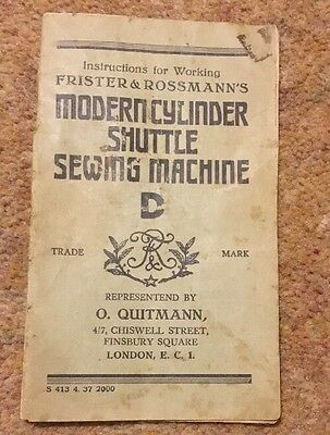Frister & Rossmann's Modern Cylinder Shuttle Sewing Machine D Instructions