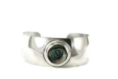 Silver Plated Cuff Bracelet Abalone Cabachon Mexico Shell