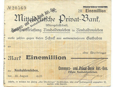 Neuhaldensleben  Commerz und Privat-Bank 1 Million Mark 1923 Notgeld