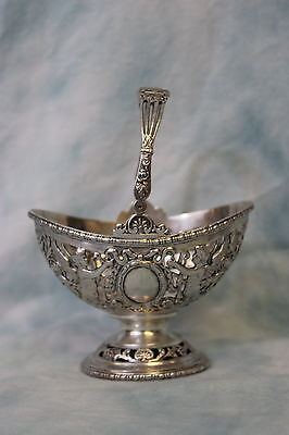 Antique Elaborate 800 Silver Basket Chased with Floral & Cherubs 3.16ozt