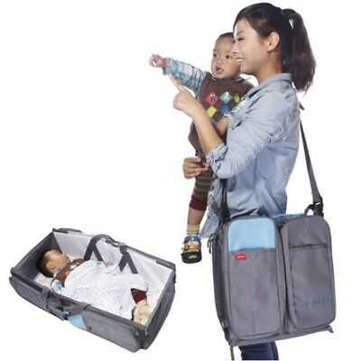 3 In 1 Diaper Bag Portable Travel Bassinet Changing Station Baby Tote Bag Bed