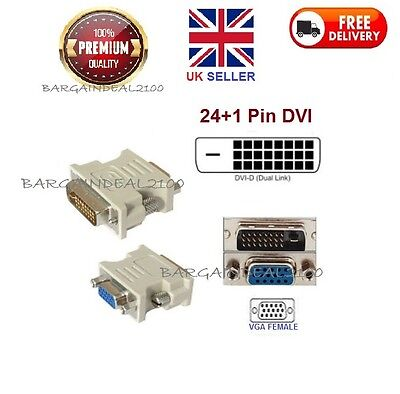 Dvi-D Dvi Male 24+1Pin To Vga Female Svga 15Pin Video Monitor Adapter