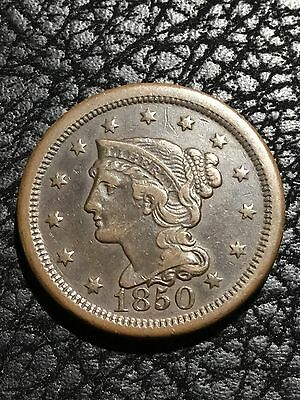 1850 Braided Hair Large Cent - F+ ~ INV#2589