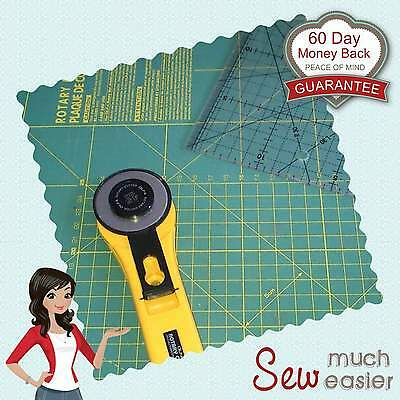 OLFA Quilting 45mm Rotary Cutter Patchwork Ruler Cutting Mat no spare blades