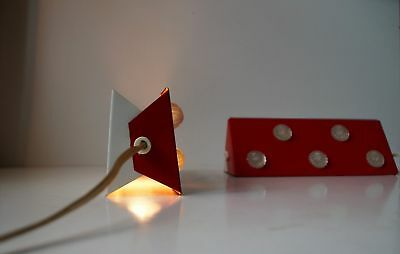 Pair Red Anvia 1970s Sconces Wall Lamps Dutch Space Age ala Charlotte Perriand