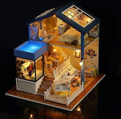 DIY Dollhouse Miniature Kit Dolls House with Furniture Gift craft Toy --Seattle
