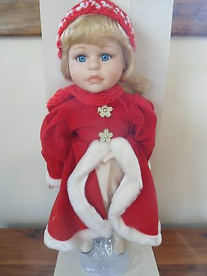 "Seymour Mann CONNOISSEUR COLLECTION 16"" Doll on Stand CHRISTMAS RED DRESS RUBY"