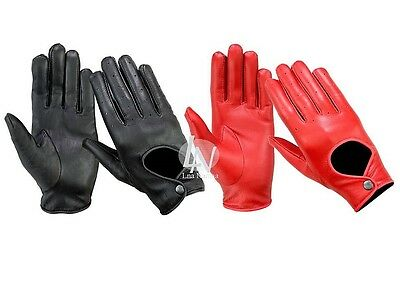 Brand New- Real Leather High Quality Women Ladies Driving Soft Gloves -Black Red