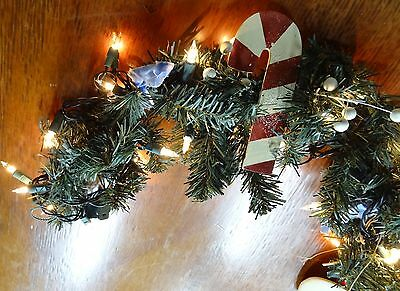 GarlandHANDPAINTED Country Christmas  Flat Wood PRIMITIVE SNOWMAN & Candy Cane