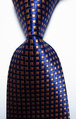New Classic Checks Orange  Dark Blue  JACQUARD WOVEN 100% Silk Men's Tie Necktie