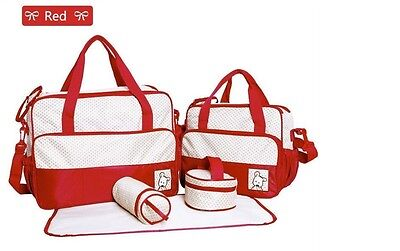 5pcs *NEW UPGRADED VERSION* Baby Diaper Bag Tote Bag Changing Pad Bottle Holder
