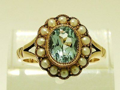 C1240 Genuine 9K Solid Rose Gold NATURAL Topaz & Pearl Cluster Ring in your size