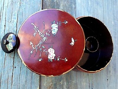 Antique Japanese Red Lacquer Papier Mache Tea Box, Mother Pearl Chabistsu Japan