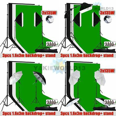 Photography Studio Softbox Boom Lighting Umbrella Light Stand Backdrop Stand Kit