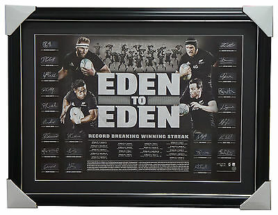 All Blacks Signed Official 2016 World Record Team Litho Framed Eden to Eden +COA