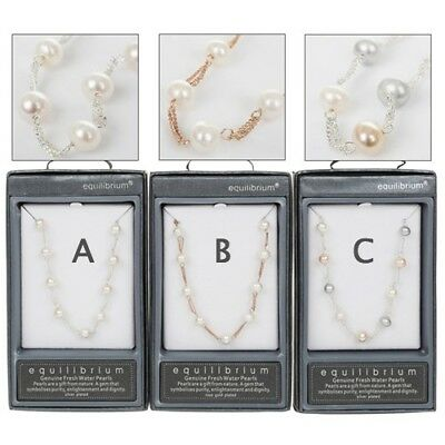 Equilibrium Fresh Water Pearls Necklace Silver Or Rose Gold Plated Gift 49528
