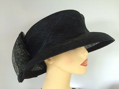 Ladies Occasion Formal Wedding Races Mother Bride Hat Navy Large Back Bow