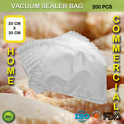 200 X Vacuum Sealer Bags Precut Food Storage Saver Heat Seal Cryovac 20Cm X 30Cm