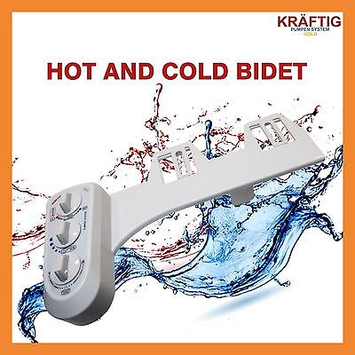 New Bidet With Hot And Cold Water Wash Clean White Easy Toilet Hygiene Sprayer
