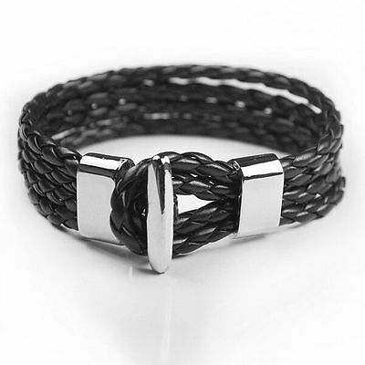 Mens Womens Multilayer Braided Leather Bangle Wrap Rope Bracelet Wristband #B206