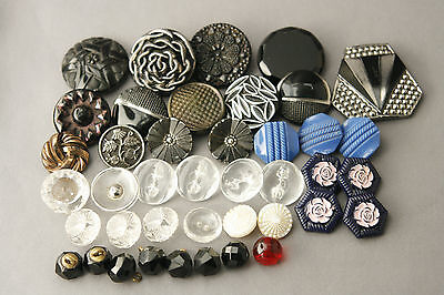 Vtg Glass Buttons Mixed Color Lot Deco - 60s Carved Black 1/4 inch to 1 1/4 in