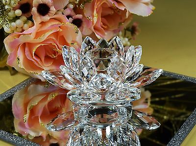 Crystal Clear Cut Lily Lotus Flower Ornament With Gift Box For Christmas Wedding