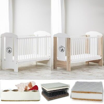 Baby Raj Baby Cot Bear On The Moon + Mattress Selection Of Cots & Mattresses