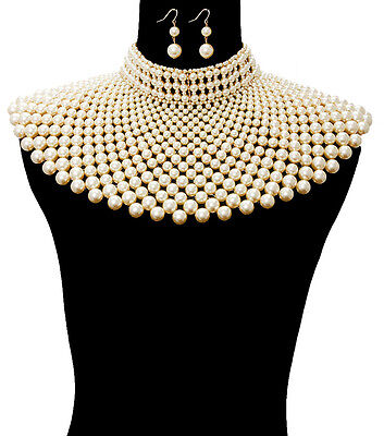 LUXE SPECTACULAR Statement Gold Cream Pearl Choker Necklace Set Rocks Boutique