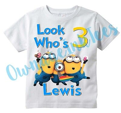 MINIONS Custom t-shirt, Birthday, Personalize with Name and Age, Despicable Me