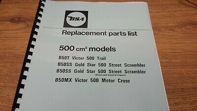 Bsa B50Ss B50T B50H B50Mx Models Parts Book Manual 1972 00-5732 - Bp72