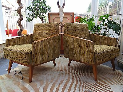 Vintage East German / Danish Style Cocktail Lounge Arm Chairs C1960 Oc16-17