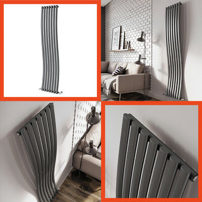 Tall Wavy Radiator Anthracite Grey Seven Bar 4299 BTU Output Free Delivery!