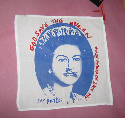 """God Save The Queen"" White Hankie. Sex Pistols Punk NEW handkerchief scarf patch"