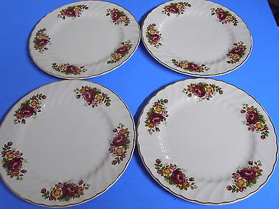 Lot Of 4 Woods + Sons Ironstone Cottage Rose Dinner Plates 9 3/4 Inches