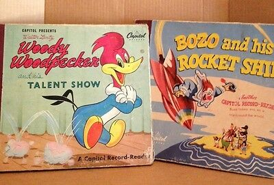 Lot Of 2 Vintage Record Reader Woody Woodpecker And Bozo by Capitol Records