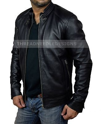 Mens Leather Jacket Black Slim Fit Biker Motorcycle Genuine Sheepskin