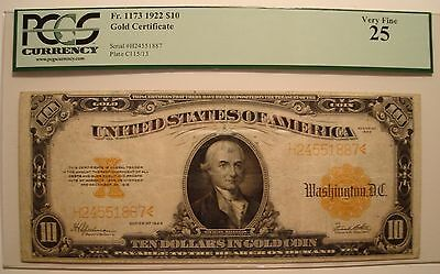 1922 $10 Gold Certificate Fr. 1173 PCGS Very Fine 25