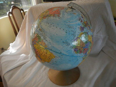 "Vintage Replogle Raised Relief Rotating World Classic Series 12"" Globe"