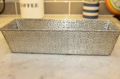 """Vintage Metal Baking Pan w Oval Floral Texture 11"""" x 4"""" Still Shiny Folded Ends"""