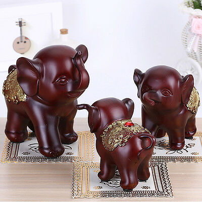 3X Feng Shui Elegant Elephant Trunk Statue Lucky Wealth Figurine Gift Home Decor