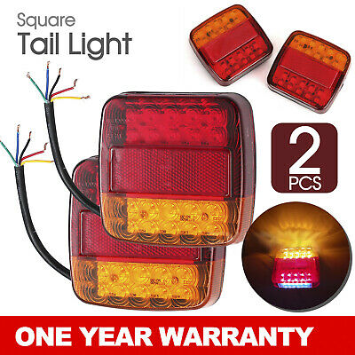 2x SQUARE TRAILER TAIL TAILER LIGHT STOP INDICATOR LIGHTS LED LAMP +NUMBER PLATE
