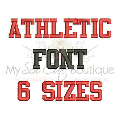 Athletic Machine Embroidery Font - 6 Sizes - IMPFCD29