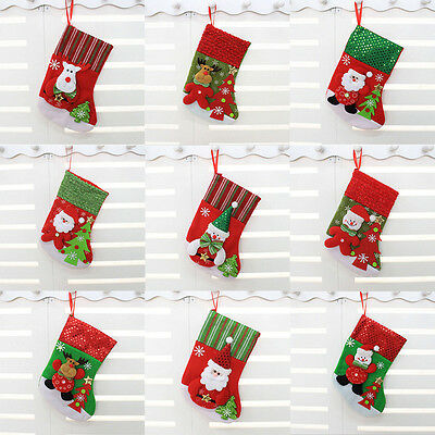 Santa Claus Snowman Sequin Striped Stocking Christmas Xmas Gift Candy Bags