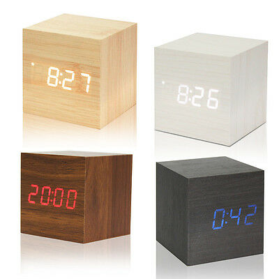 Voice Control,Cube Wooden Wood Alarm Clock,LED Digital Desk,Thermometer USB AAA